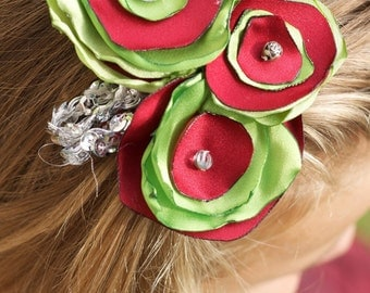 christmas hair clip red green fabric flower rhinestone bridesmaid christmas photo prop flower headband girl vintage silver winter wedding