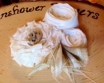 vintage wedding flower hair piece beige cream upcycled photo prop easter hair clip fabric flower children newborn flower girl bride hair