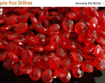 sale AAA ruby red quartz gemstone briolette- faceted ruby red pear briolette- set of 6 Pcs- 14x10 mm No.648