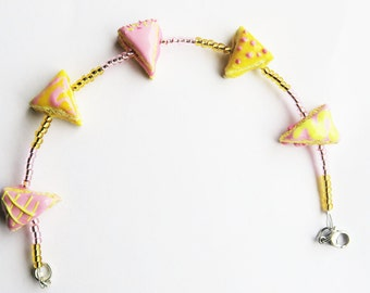 Pink Yellow Cake Bracelet - food jewelry, miniature food, kawaii bracelet, girly bracelet, pink bracelet
