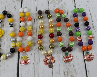 Halloween Chunky Necklace Candy Corn Necklace Bubblebee Necklace Pumpkin Childrens Necklace Bead Gumball Necklace Thanksgiving Baby Necklace