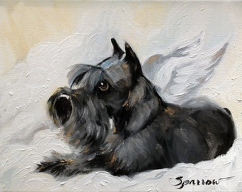CANVAS PRINT Miniature Schnauzer Christmas Angel Holiday print of portrait painting / Mary Sparrow unstretched and rolled