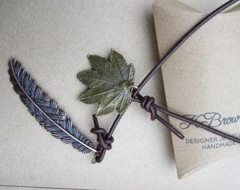 Leaf Lariat, Leather YNecklace, Brass Leaf Pendant Necklace, Handmade Pendant Lariat, Edinburgh Jewellery Designer, K Brown Jewellery, U.K.