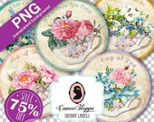75% OFF SALE PNG File Circle Shabby Tea Cups 2.5 inches Transparent Background Png Circles Scrapbooking clip art for cutting machine Instant