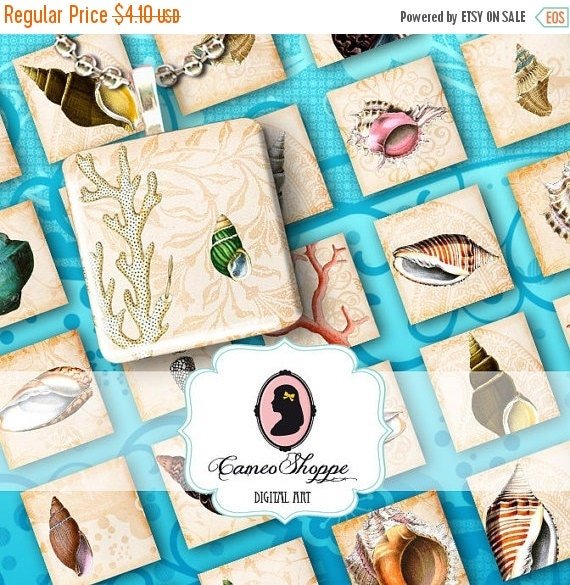 75% OFF SALE SEASHELLS 1x1 inch square Digital Collage Sheet Digital download