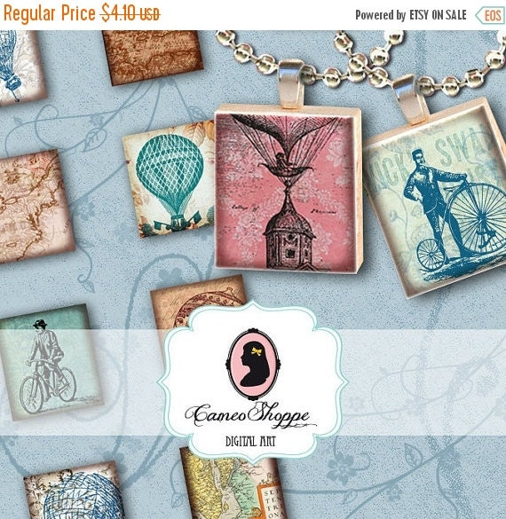 75% OFF SALE SCRABBLE Balloon Bicycle Digital Collage Sheet Scrabble image size Digital Download