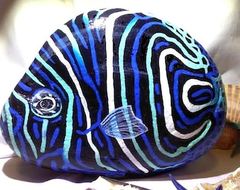 Painted rocks/Hand Painted Stone/Garden Rock/ Tropical fish/Paper weight/Book End/Outdoor art/ Home Decor /great gifts on Etsy