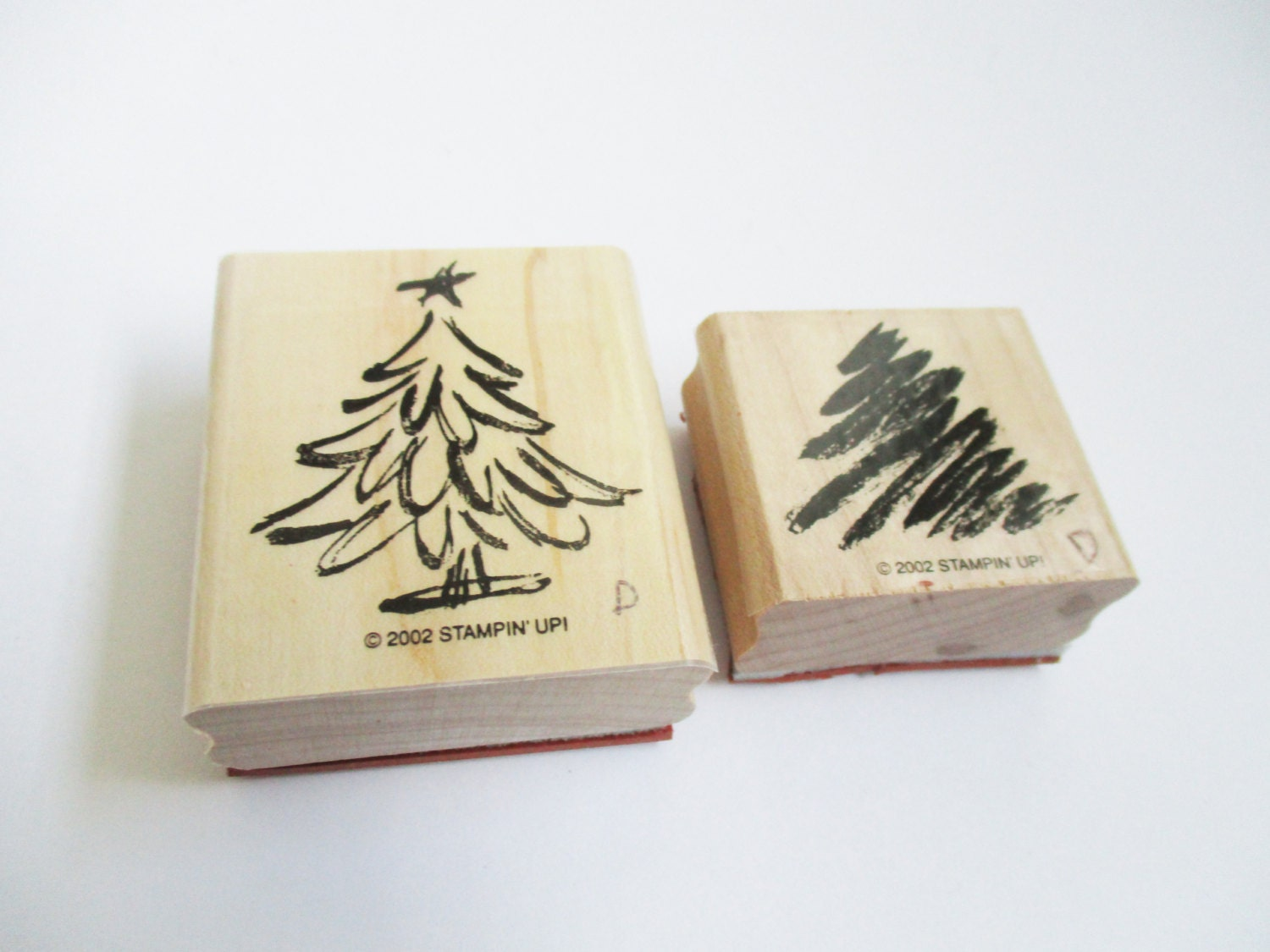 Christmas tree craft rubber stamps two step stamp set card for Custom craft rubber stamps