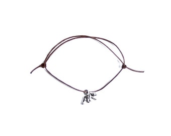 silver bear charm on waxed cotton cord adjustable friendship bracelet