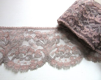 Vintage Lingerie Lace 3 Inches Wide Dusty Rose with Gray Detail Lot of 3 Pieces 23 in 26 in & 33 inches