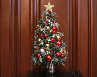 """Tabletop Christmas Tree """"Red/Gold/Silver"""" (XT16-40)"""