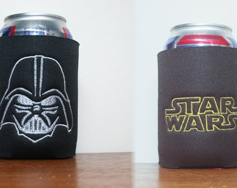 1 Star Wars Black CanCooler 2 sided Darth Vader and StarWars Words embroidered