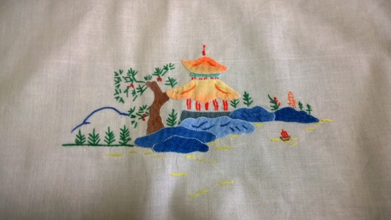 Vintage Tablecloth - Square - Cream Appliqué and Hand Embroidered - Chinese Theme