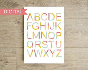 Alphabet wall art printable - Construction game blocks letters - Nursery art print - Children baby - Kids room decor - Instant download
