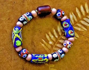 Trade Bead Bracelet, Multi-cultural, African Krobo beads, Cheyenne Pink beads,  Tibetan Beeswax, Tribal style, Hippy chic, Boho