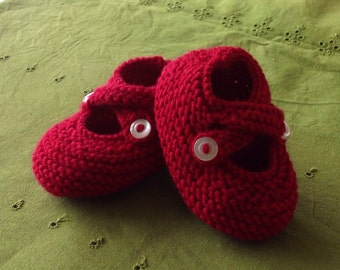 Cute hand-knit baby booties