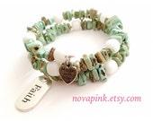 Natural gemstone (Magnesite) Wrap bracelet