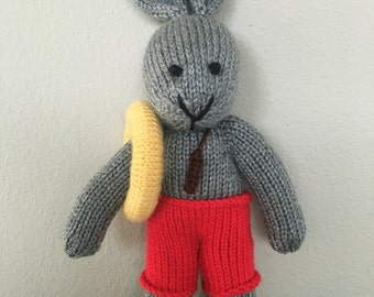 Stuffed Animal - Knitted Bunny - Lifeguard - Handmade Toy - Stuffed Bunny - Soft Toy
