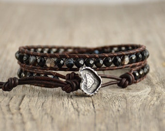 Bohemian bracelet. Skinny double wrap beaded leather bracelet