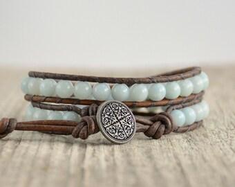 Bohemian chic beaded leather wrap bracelet. Double wrap aqua leather bracelet
