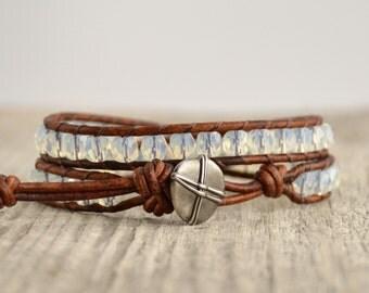 Clear opal wrap bracelet. Beaded bohemian jewelry