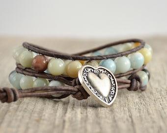Beachy chunky wrap bracelet. Beaded flower amazonite leather wrap. Double wrap bracelet