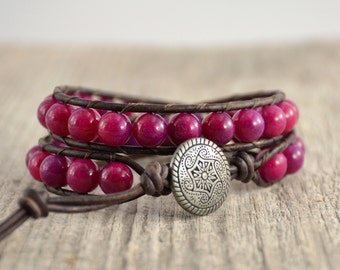 Purple wrap bracelet. Beaded stack bracelet. Rustic leather wrap bracelet