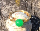 Green Jade Gemstone Ring/Jade Stone Ring /Jade Wire Wrapped Ring/Green Ring/Green Stone Ring