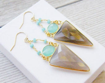 Smoky Quartz Earrings, Aqua Chalcedony Earrings, Geometric Earrings, Statement Earrings, Gemstone Earrings, Triangle, Boho, Bohemian, Long