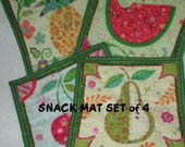 FRUIT MINI MATS Set of Four Different Fruit Prints Cottage Chic Gift Item