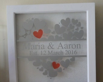 Personalised box frame handmade Wedding, Anniversary gift keepsake