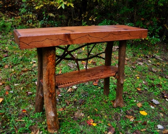 "Rustic Tree Trunk Console Entry Table Handmade Sofa 54"" Table with shelf Log Cabin Furniture FREE SHIPPING"