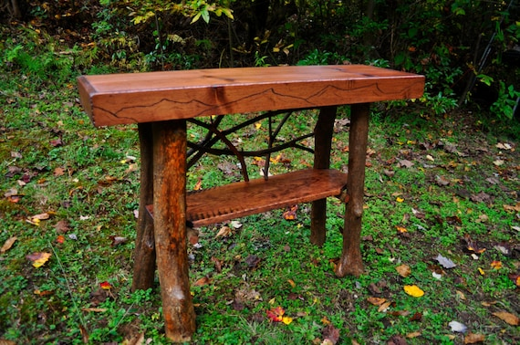 Items Similar To Rustic Tree Trunk Console Entry Table Handmade Sofa 54 Table With Shelf Log