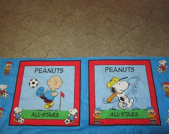 Blue Baseball Charlie Brown/Snoopy 17 x 44 Inch Pillow/Quilt Block Cotton Fabric