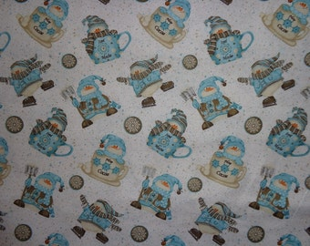 White Snowman/Cocoa Winter Cotton Fabric by the Yard