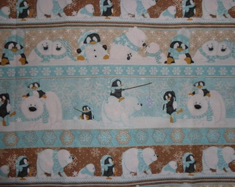 Brown/Blue Polar Bear/Penguin Winter Stripe Cotton Fabric by the Yard