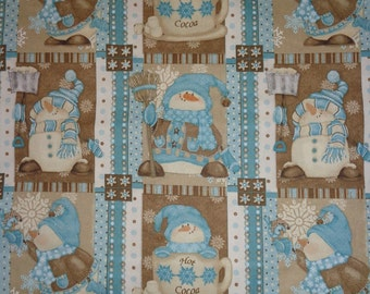 Brown/Blue Snowman/Cocoa Blocked  Cotton Fabric by the Yard