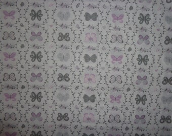 White with Gray/Purple Buttterflies Cotton Fabric by the Yard