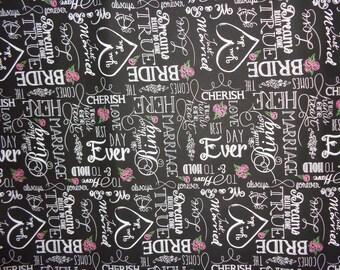 Black Wedding Words Chalkboard Cotton Fabric by the Yard