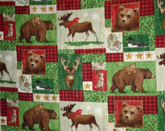Holiday Bear/Moose/Deer/Rabbit Cotton Fabric by the Yard