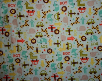 Blue Boy Car/Truck/Animal Fabric by the Yard