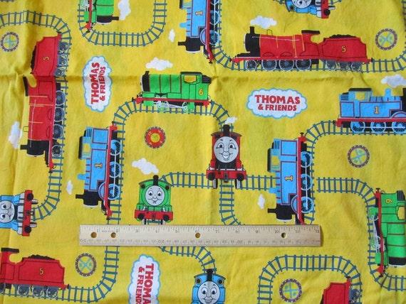 Yellow thomas train railroad tracks fabric by the yard for Train fabric by the yard