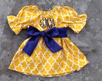 Baby girl outfit, monogram baby girl fall Dress, monogram baby Girl clothes, mustard yellow navy, personalized toddler girl fall outfit