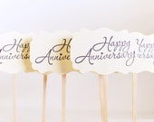 Cupcake Toppers, Happy Anniversary Picks, Wedding Anniversary Cupcake Toppers, Dessert Toppers, 50th Anniversary Picks, Cupcake Decorations