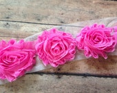 Bubble Gum Pink ** Shabby Flowers Chiffon Rosettes Shabby Flower trim- *Your choice of 1/2 yard or 1 Yard