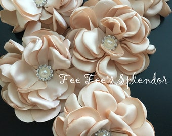 "DIY Headband flower * Satin Chiffon  3.5""-  DIY Hair flower- Khaki Beige Brown singed Flower - Pearl embellished - Headband supplies"