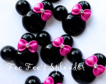2 pc- Pretty Minnie inspired Mouse shaped Flatback resin- Mouse cabochon- w/ Hot PINK bow * Hair bow center *