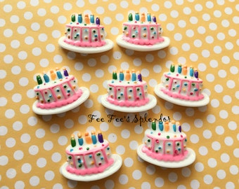 2 pc set- BIRTHDAY CAKE cabochon- Flat back resin *Hair bow center*