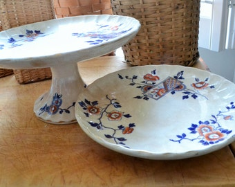 Pair Antique Cake Stands, Aesthetic Transferware Cream with Cobalt and Persimmon Floral, Stacking Cake Stands