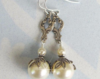 Vintage Inspired Pearl Bridal Earrings, Ivory, White Pearl Wedding Earrings Antique Style Wedding Jewelry Sterling Silver NaturesWildJewels